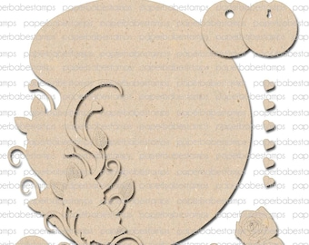 Rose Edge Layered Frame, Large Fibreboard Substrates Kit - Paperbabe Stamps - Complementary MDF Shapes for mixed media and craft.