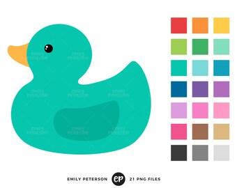 Rubber Duck Clip Art, Baby Clipart, Bathtub Clip Art - Commercial Use, Instant Download