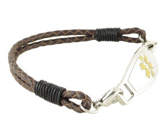 Leather Medical ID Bracelet Double Braided Dark Brown