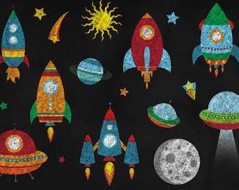 Chalkboard Rockets Clipart, Chalkboard Outer Space Clip art - PNG Rockets, Spaceship, Outer Space Clipart Set Commercial Use