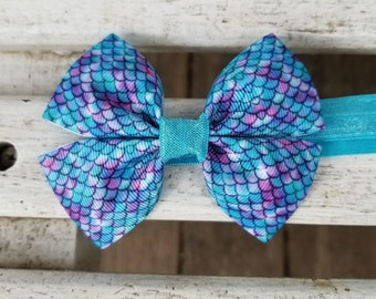 Mermaid Scales Hair Bow on Elastic Band (3.5 inch)
