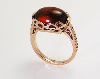 Orange Garnet Ring .