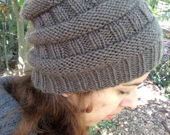 Ribbed Slouchy Hat Knitting Pattern Instant Download