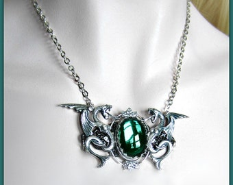 Silver Dragon Necklace, Emerald and Silver, Melusine Dragons, Choose Style