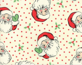 Swell Christmas by Urban Chiks for Moda, #31120-11, Cream Santa, Christmas Fabric, Holiday Fabric, Christmas in July, IN STOCK