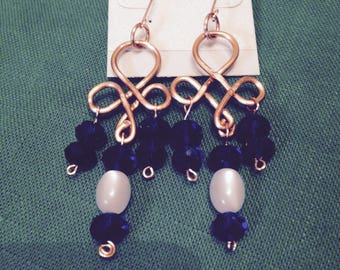 Handmade Looped wire drop earrings