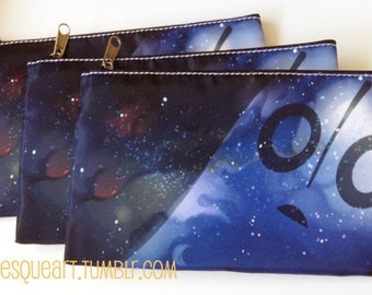 Napstablook Printed Fabric Pencil Case or Cosmetics Bag with Black Zipper - 2 Patterns - Undertale Fanart, Galaxy / Space / Ghost, Halloween