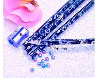 """Wax Pencil , Wax Pencil with Sharpener, 9"""" wax pencil tool picking rhinestones, Swarovski crystal, flat pearls nail art"""