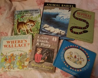 Lot of 6 Vintage Children's Books, Collectible, Charlie Brown and Other Titles