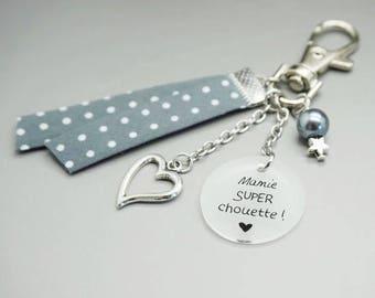 """porte clé gris cabochon """"mamie super chouette"""" coeur personnalisable"""