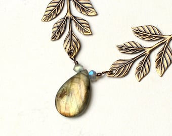"Labradorite Necklace, Leaf Necklace - ""Elven"" by CircesHouse on Etsy"