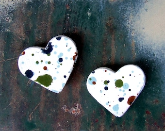 Paint Splatter Heart Stickers, 20 Envelope Seals, Blue Green Bold Red Paint Splash, Paper Heart Stickers