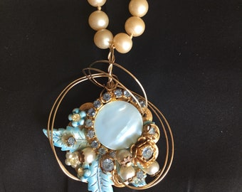 Repurposed vintage earring wire-wrapped for ladies pendant