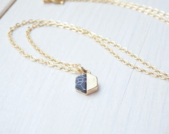 Gold Hexagon Necklace - Minimalist Style