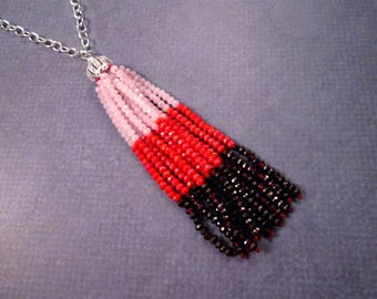 Tassel Necklace, Valentine Pink and Red, Ombre Glass Beaded Tassel and Pave Pendant Necklace, Silver Chain Necklace, FREE Shipping U.S.