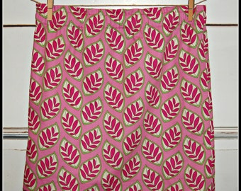 SALE/Preppy pink & green skirt / elastic waist / lined / pull on style / size XS