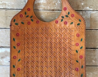 Vintage Hobo Hand Tooled leather Shoulder Purse Brown