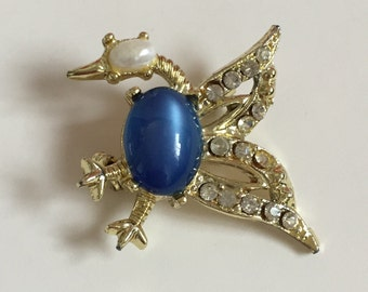 Jelly Belly Bird Rhinestone Pearl Figural Brooch gold and Blue Christmas Brooch