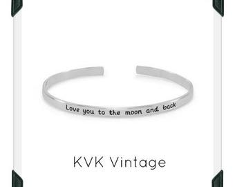 Love you to the moon and back -  Sterling Silver Handstamped Cuff Bracelet