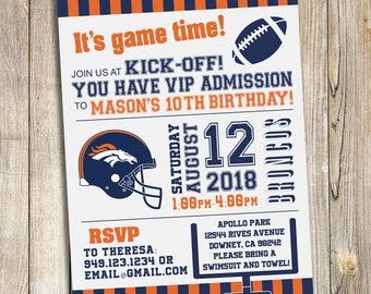 Denver Broncos Football Birthday Party Invitation / DIY Printable Download