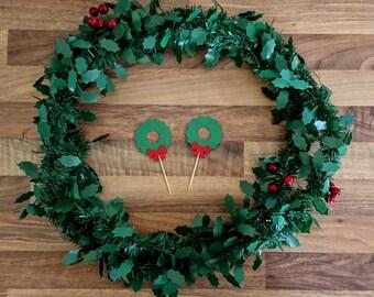 Christmas Cupcake topper, Christmas Wreath Cupcake topper, Christmas Cake topper, Traditional Christmas decoration, Cupcake topper