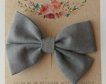 Piper Double Bow in Gray