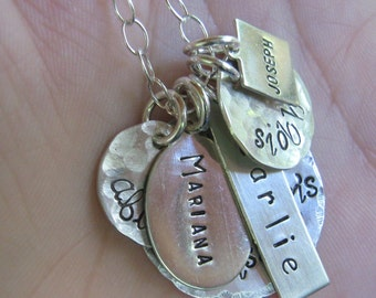 Hand stamped Jewelry -  Ultimate love - grandmother's necklace - Personalized Necklace