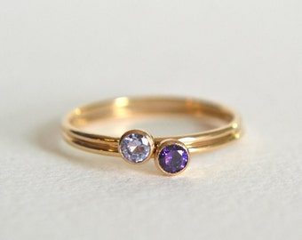 Set of Two Gold Filled Rings, Gold Amethyst Ring, Amethyst Ring Gold, Gold Stacking Ring, Stackable Ring, Dainty Ring, Amethyst Ring