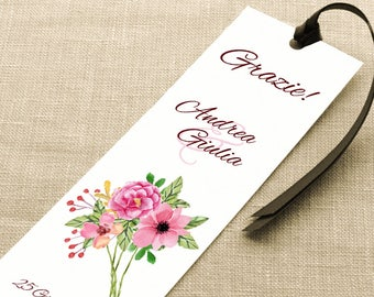 Wedding placeholder. Bookmark Thanksgiving Wedding. Floral placeholder with bunch of wildflowers, with ribbon or without.