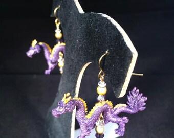 Purple Dragon Earrings