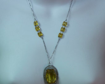1940's Czechoslovakian Faceted Citrine Glass and Silver Necklace
