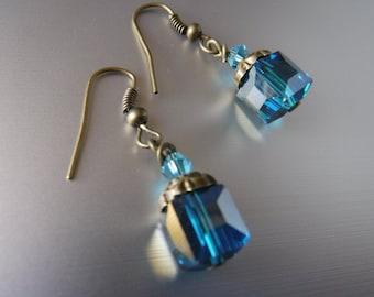 Blue Crystal Vintage Earrings