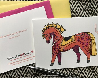 Horse Note Card, Scandi Style Horse Illustration