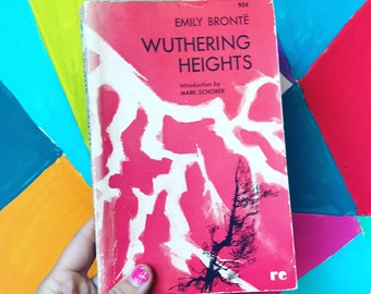 Wuthering Heights by Emily Bronte -  1961 vintage paperback book - pink