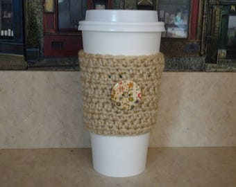 Crochet Cup Sleeve with Button , Crochet Cup Cozy. Cup Cozy, Beige Coffee Cozy, Reusable Cup Sleeve, Coffee Lover Gift, Gifts under 10,