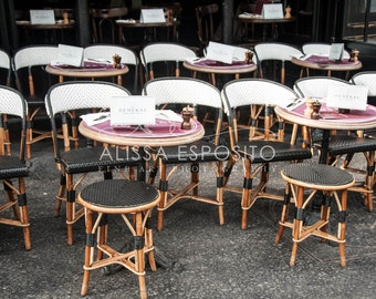 French Cafe Bistro Chairs Print, Paris Photography, Travel Photography,  Paris Wall Art, 8x10, 11x14, 16x24, 20x30, Home Decor, Print, Purple