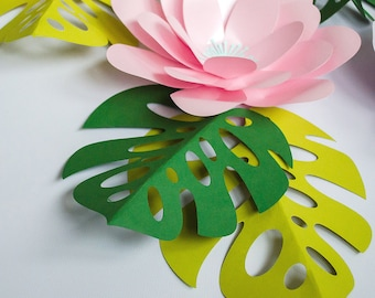 Tropical 10 flowers set