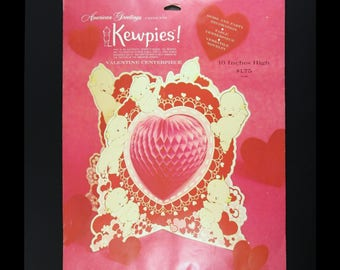 Vintage Valentine Kewpie Honeycomb Centerpiece, New in Package, Rose O'Neill American Greetings, 1970s