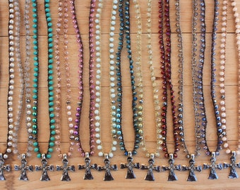 Wholesale Lot of  12  Dainty Cross Necklace,  Crochet Bohemian Jewelry
