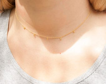 Gold - bead - drop charm - necklace - gold necklace - choker necklace - satellite necklace - gold choker - gold chain - choker - boho M30371