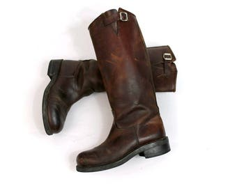 Vintage Biker boots brown women us6 fr37/ vintage motorcycle  boots brown