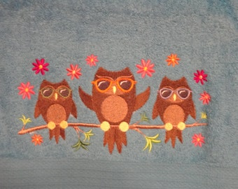 Summertime Owls in Sunglasses - Embroidered Bath Towel Set - Bath Towel, Hand Towel and Washcloth - Shown on Light Blue