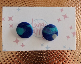 Out Of This World Blue Glitter Stud Earrings
