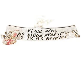 Sterling silver medical bracelet, health identification jewelry, emergency information for women, engraved, custom message, inscribed, meds