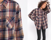 Plaid Flannel Shirt Button Up Shirt 90s GRUNGE Brown Blue Checkered 1990s Vintage Oversized Long Sleeve Boyfriend Extra Large xl