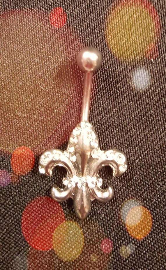Stainless Steel Fleur de Lis Rhinestone Belly Ring