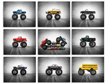 Vintage Monster Trucks, Set of Nine Stretched Canvas prints, Nursery Decor, Rustic Decor Toy Cars, Baby room ideas, Boys Room Decor,