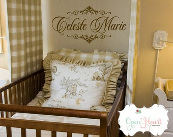 Fancy Name Decal | Shabby Chic Wall Decal | Elegant Baby Nursery | Nursery Decor | Nursery Wall Art | Baby Name Decal | FN0159