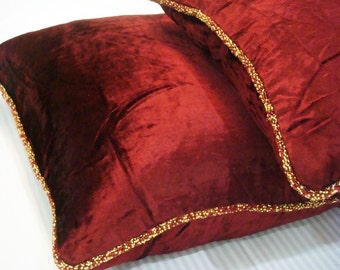 Decorative Throw Pillow Covers Pillow Couch Pillow Bed Toss Pillow Sofa Pillow 20x20 Velvet Pillow Case with Bead Cord -Maroon Shimmer