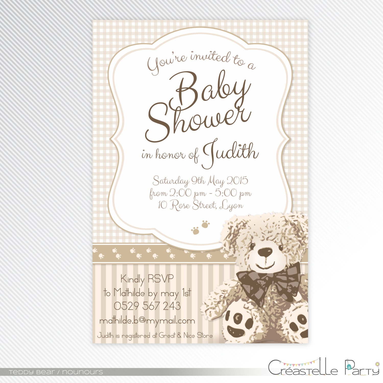 Beige teddy bear baby shower invitation digital invitation zoom filmwisefo